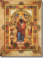 A page from the Book of Kells (Christ Enthroned, Folio