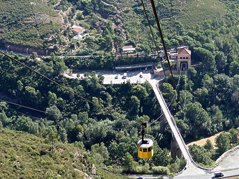 The Aeri de Montserrat cable car is by far the most interesting way to arrive at Montserrat monastery