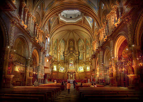 The interior of the church at the Montserrat monastery