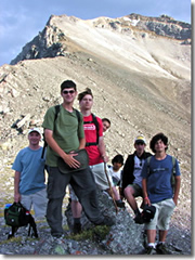 Troop 116 triumphant atop the Continental Divide in the Canadian Rockies