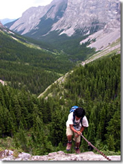 Hiking over the Continental Divide between BC and Alberta, Canada