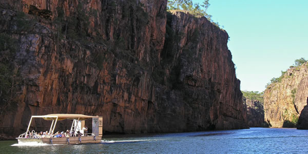 A boat tour of Katherine Gorge in Nitmiluk National Park, Australia