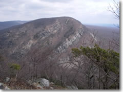 The Delaware Water Gap's 1,527-foot Mount Tammany offers one of the best geoglocial cross-sections--a perfect, angled thrust-fault--along the whole Appalachian Trail