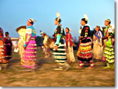 Oglala Sioux women performing the traditional Jingle Dance at the 2006 Oglala Lakota Nation Gathering on the Pine Ridge Indian Reservation, South Dakota
