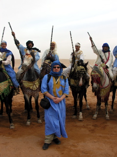 The author and some of his Berber horde buddies at the moussem de Tan-Tan, Morocco.