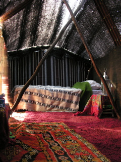 Tent sweet tent; the author's traditional Berber lodging by the Oued Chbika, Morocco.