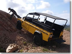 Steven Adamus tries to impress us with his driving skills during a Yellow Jeep Safari of Curaçao's Mt. Christoffel National Park, but only ends up fouling up the jeep (no worries; it only took him 20 minutes to figure out what he'd done wrong).