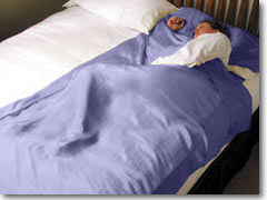 A silk sleep sack for staying i hostels and making rough, cheap sheets more comfortable