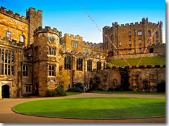 The 11th centry castle that houses students -- and, in the off-season, travelers -- at Durham University in England