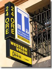There are Western Union offices throughout Europe—sometimes doubleing as tobacconists, as this one in Italy.