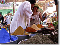 Bargaining for spices in the souk of Aswan, Egypt.
