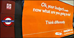 easyJet ad at a London Tube station