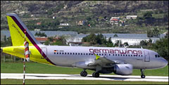 A no-frills airline germanwings plane taxis for take-off in Split, Croatia
