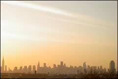 The New York City skyline at sunset