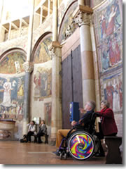 Even folks in a wheelchair are able to appreciate many of the amazing ancient sights of Europe, like this church in Ravenna, Italy