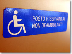Sections on European trains, buses, and other public transport are set aside for wheelchairs.