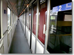 The corridor of a second clas train car in Europe