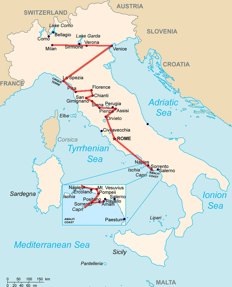 map of italy tuscany. A map of the sane two-week