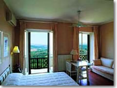 A room at the Hotel Bel Soggiorno, with the Tuscan countryside right outside your window.