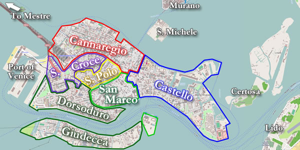 The Layout Of Venice Its Canals Major Streets And Bridges And How To Get Around